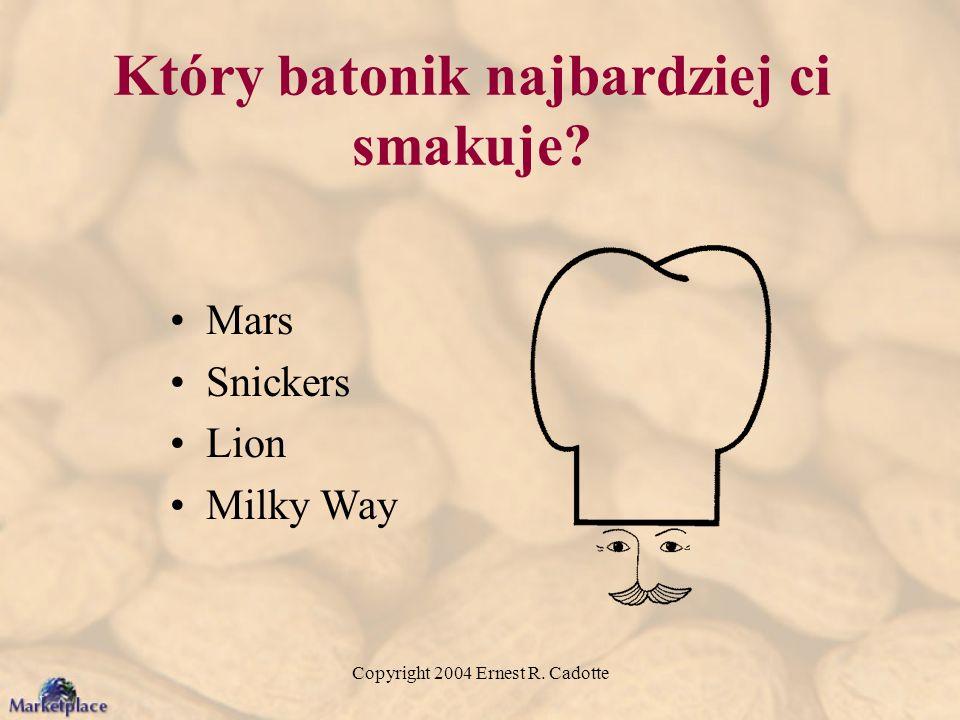Copyright 2004 Ernest R. Cadotte Który batonik najbardziej ci smakuje? Mars Snickers Lion Milky Way
