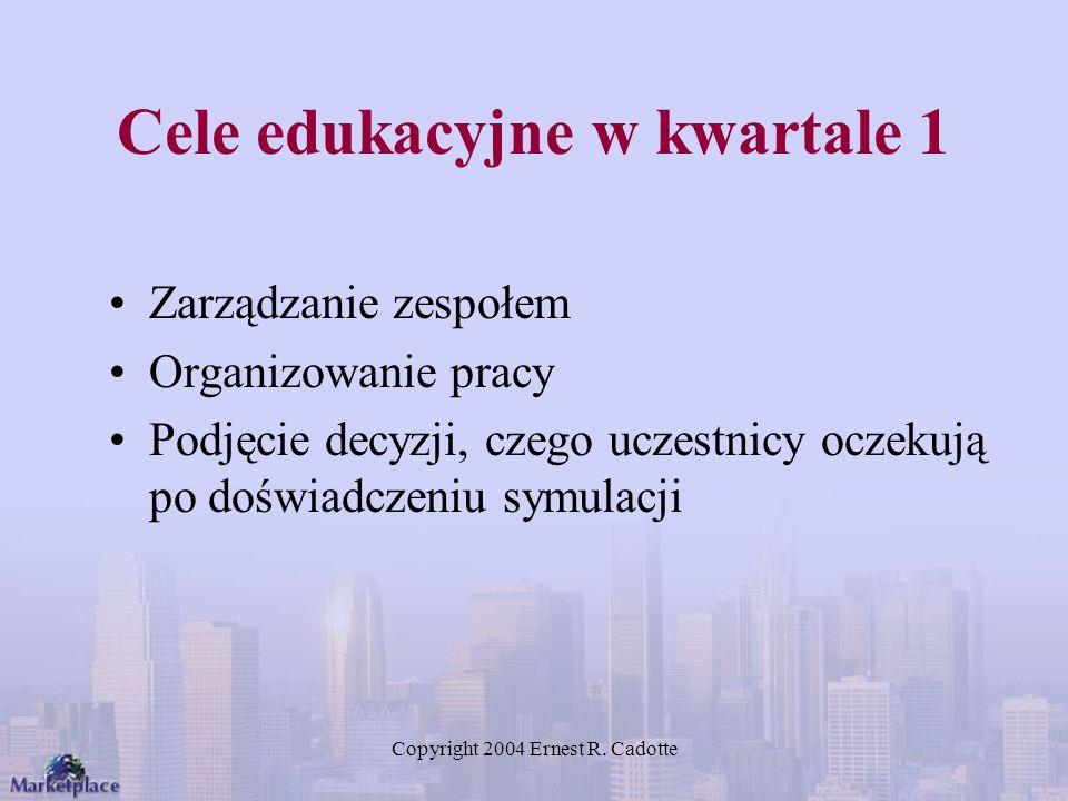 Copyright 2004 Ernest R. Cadotte Cele edukacyjne w kwartale 1 Zarządzanie zespołem Organizowanie pracy Podjęcie decyzji, czego uczestnicy oczekują po