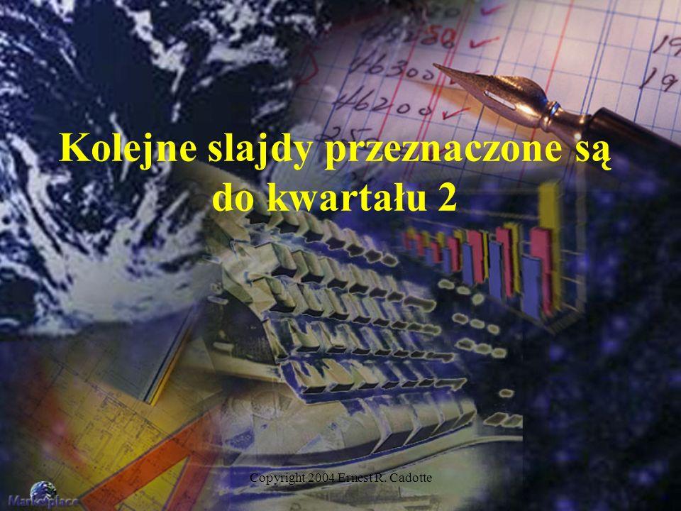 Copyright 2004 Ernest R. Cadotte Kolejne slajdy przeznaczone są do kwartału 2