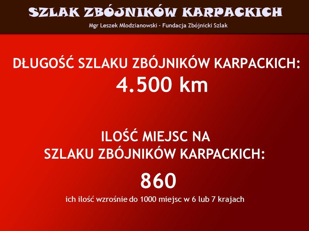DŁUGOŚĆ SZLAKU ZBÓJNIKÓW KARPACKICH: 4.500 km Mgr Leszek Młodzianowski - Fundacja Zbójnicki Szlak SZLAK ZBÓJNIKÓW KARPACKICH ILOŚĆ MIEJSC NA SZLAKU ZB