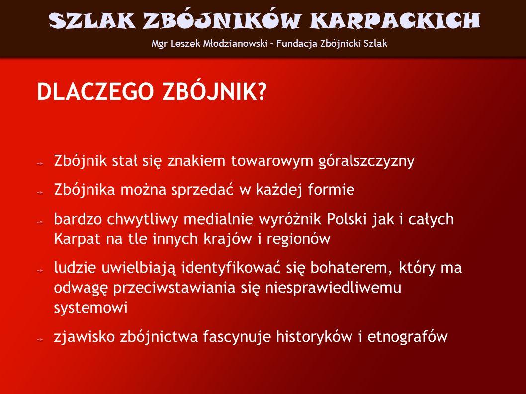DLACZEGO ZBÓJNIK? Zbójnik stał się znakiem towarowym góralszczyzny Zbójnika można sprzedać w każdej formie bardzo chwytliwy medialnie wyróżnik Polski