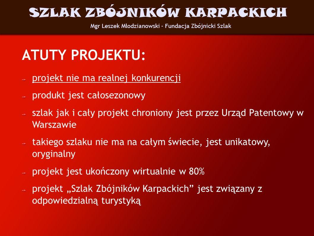 ATUTY PROJEKTU: projekt nie ma realnej konkurencji produkt jest całosezonowy szlak jak i cały projekt chroniony jest przez Urząd Patentowy w Warszawie