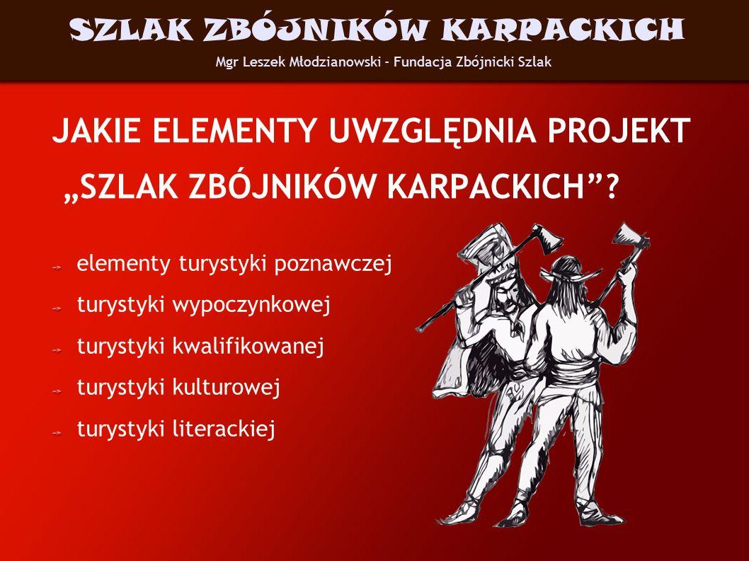 CHARAKTERYSTYKA WYTYPOWANYCH MIEJSC Na Szlaku znajdują się: miejsca ukrycia zbójnickich skarbów miejsca gdzie zbójnicy byli więzieni, gdzie ukrywali się przed harnikami miejsca zbójnickich straceń – kaźni zbójeckich miejscowości, w których najsłynniejsi harnasie się urodzili i wychowali miejsca sakralnych fundacji zbójnickich Mgr Leszek Młodzianowski - Fundacja Zbójnicki Szlak SZLAK ZBÓJNIKÓW KARPACKICH