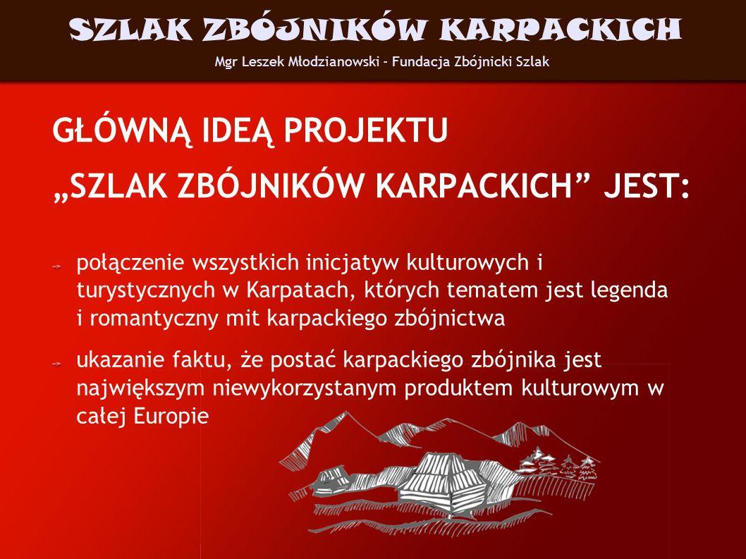 GŁÓWNĄ IDEĄ PROJEKTU SZLAK ZBÓJNIKÓW KARPACKICH JEST: połączenie wszystkich inicjatyw kulturowych i turystycznych w Karpatach, których tematem jest le