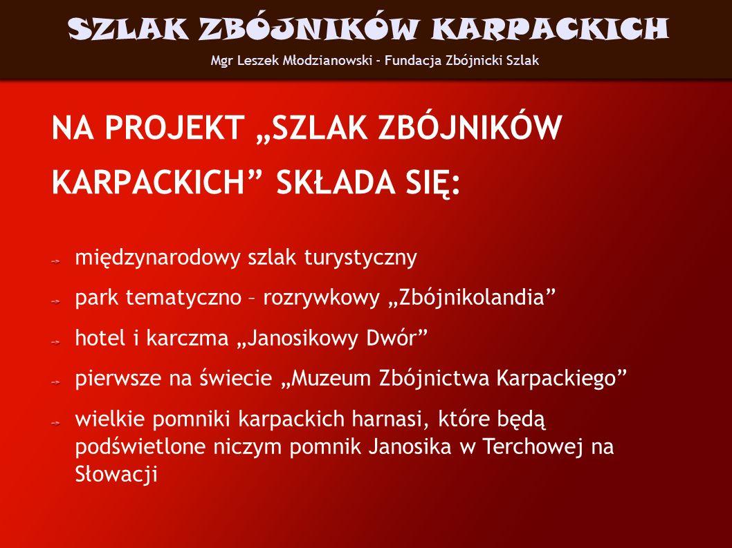 CHARAKTERYSTYKA WYTYPOWANYCH MIEJSC Na Szlaku znajdują się: miejsca związane topograficznie ze zbójnikami miejsca związane z rycerzami raubritterami miejsca, gdzie sławni harnasie pobierali nauki kościoły w których przyszli zbójnicy byli ochrzczeni miejsca dawnych hucznych jarmarków parki krajobrazowe, rezerwaty przyrody Mgr Leszek Młodzianowski - Fundacja Zbójnicki Szlak SZLAK ZBÓJNIKÓW KARPACKICH