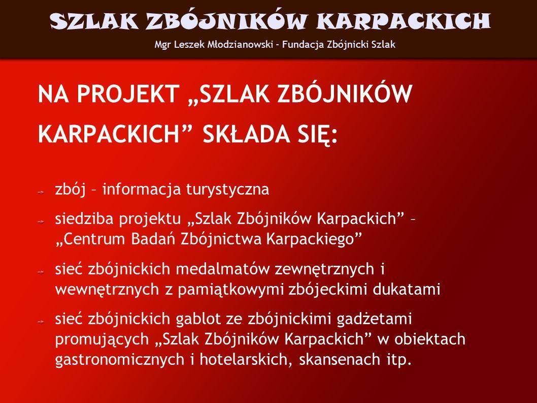 NA PROJEKT SZLAK ZBÓJNIKÓW KARPACKICH SKŁADA SIĘ: zbój – informacja turystyczna siedziba projektu Szlak Zbójników Karpackich – Centrum Badań Zbójnictw
