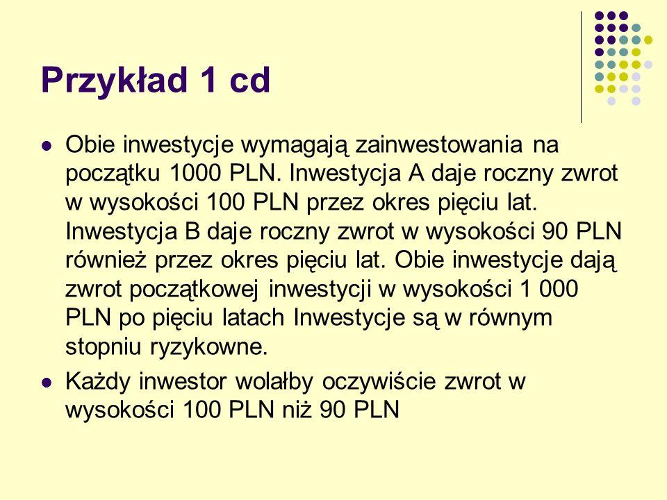 Przykład 1 cd Obie inwestycje wymagają zainwestowania na początku 1000 PLN. Inwestycja A daje roczny zwrot w wysokości 100 PLN przez okres pięciu lat.