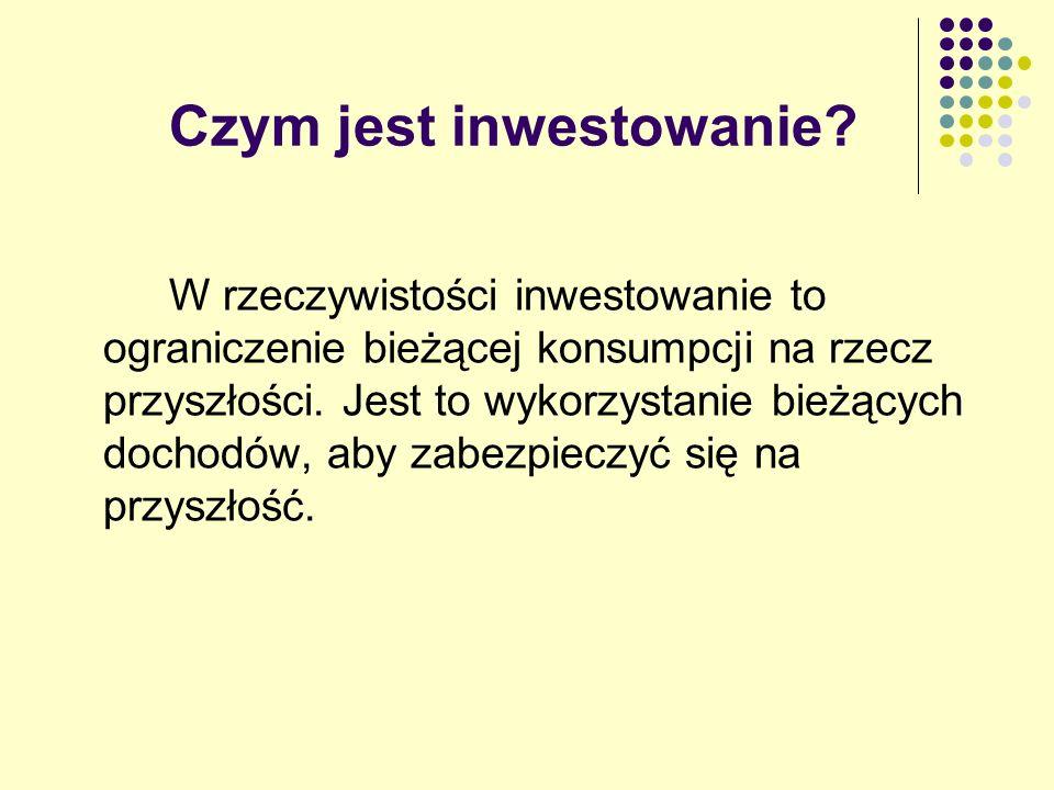 Cechy każdej inwestycji Ryzyko - niepewność przyszłych zwrotów lub przepływów pieniężnych Zmiana wartości (cena sprzedaży) inwestycji Płynność (łatwość sprzedaży) - zdolność do zamiany na gotówkę Zarządzanie - odpowiedzialność za bezpośrednią i prawdopodobnie częstą kontrolę Wpływy - przeznaczenie pożyczonych funduszy na część zapłaty Wpływ podatków - wpływ prawa podatkowego na przepływ pieniężny