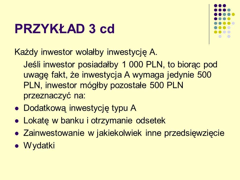 PRZYKŁAD 3 cd Każdy inwestor wolałby inwestycję A. Jeśli inwestor posiadałby 1 000 PLN, to biorąc pod uwagę fakt, że inwestycja A wymaga jedynie 500 P