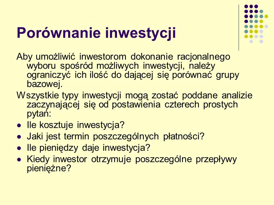 Porównanie inwestycji Aby umożliwić inwestorom dokonanie racjonalnego wyboru spośród możliwych inwestycji, należy ograniczyć ich ilość do dającej się