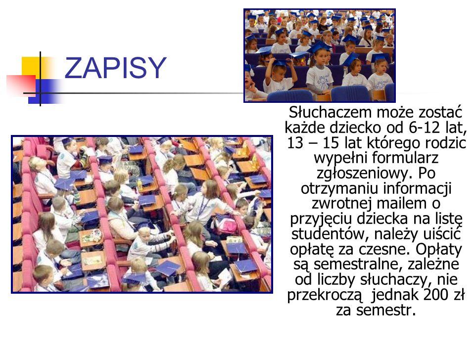 WYKŁADY W czasie wykładów dzieci zostają same na auli, bez rodziców, tak jak prawdziwi studenci.