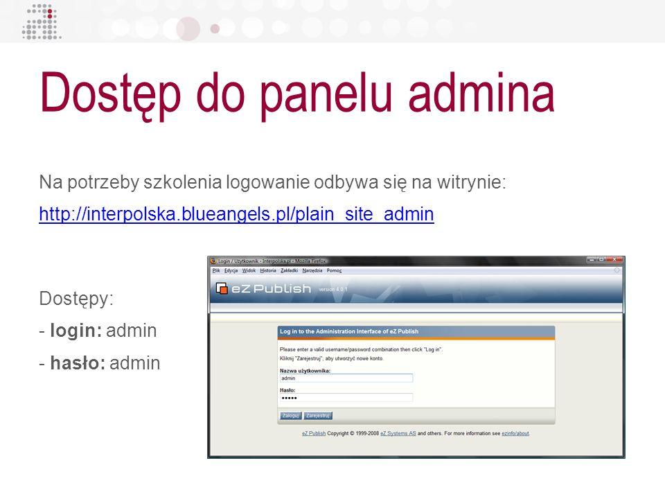 Dostęp do panelu admina Na potrzeby szkolenia logowanie odbywa się na witrynie: http://interpolska.blueangels.pl/plain_site_admin http://interpolska.b