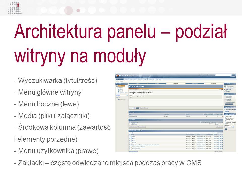 Architektura panelu – podział witryny na moduły - Wyszukiwarka (tytuł/treść) - Menu główne witryny - Menu boczne (lewe) - Media (pliki i załączniki) -