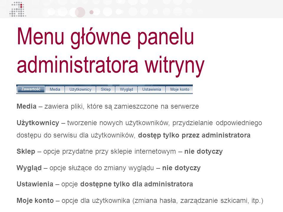 Menu główne panelu administratora witryny Media – zawiera pliki, które są zamieszczone na serwerze Użytkownicy – tworzenie nowych użytkowników, przydz