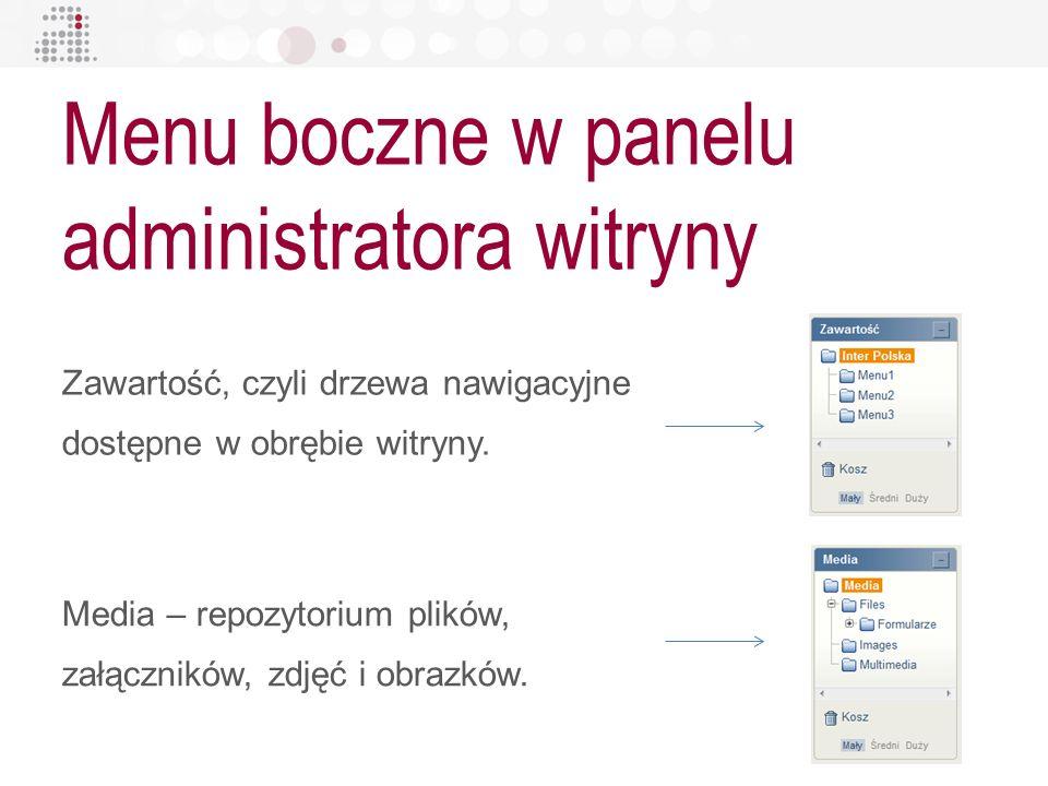 Menu boczne w panelu administratora witryny Zawartość, czyli drzewa nawigacyjne dostępne w obrębie witryny. Media – repozytorium plików, załączników,