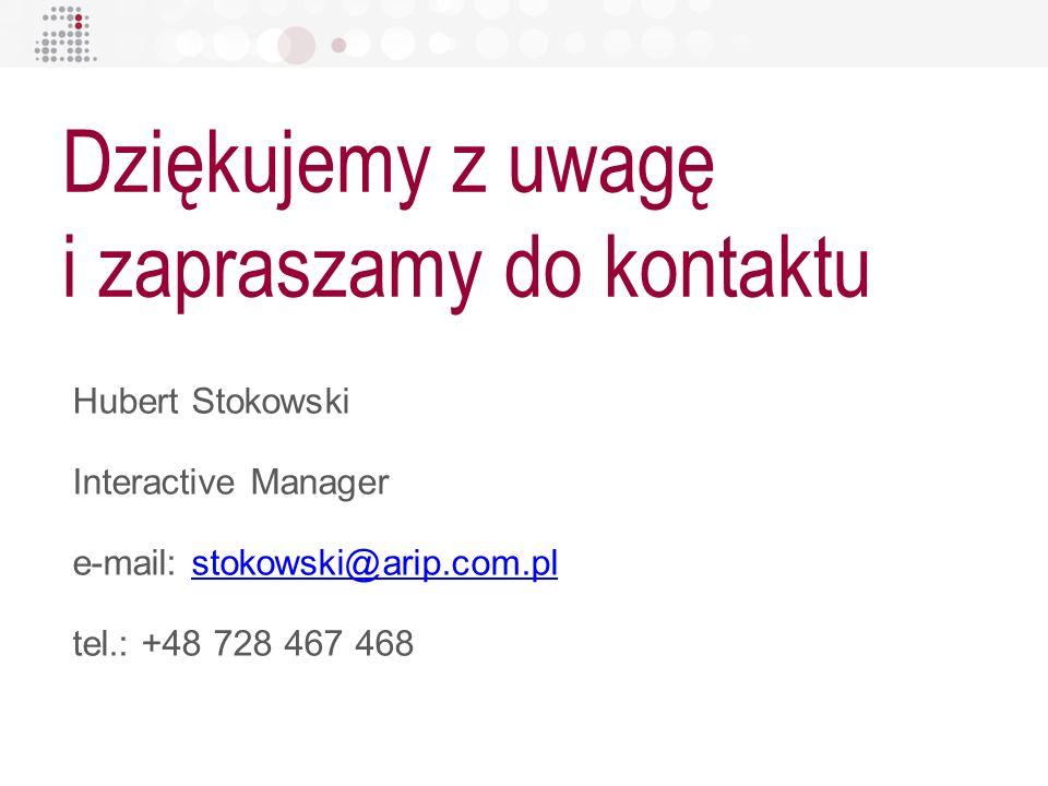 Hubert Stokowski Interactive Manager e-mail: stokowski@arip.com.plstokowski@arip.com.pl tel.: +48 728 467 468 Dziękujemy z uwagę i zapraszamy do konta