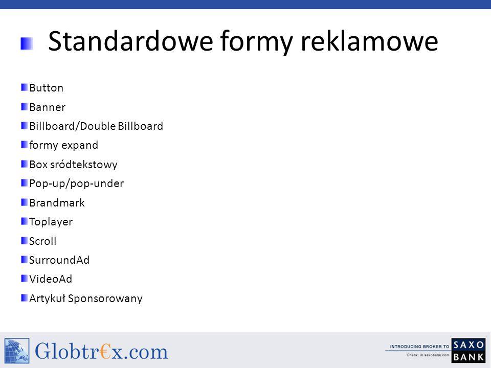 Standardowe formy reklamowe Button Banner Billboard/Double Billboard formy expand Box sródtekstowy Pop-up/pop-under Brandmark Toplayer Scroll SurroundAd VideoAd Artykuł Sponsorowany