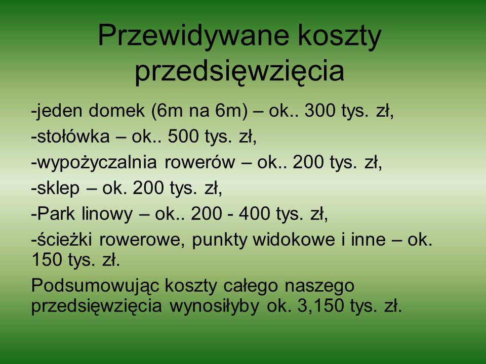 Przewidywane koszty przedsięwzięcia -jeden domek (6m na 6m) – ok.. 300 tys. zł, -stołówka – ok.. 500 tys. zł, -wypożyczalnia rowerów – ok.. 200 tys. z