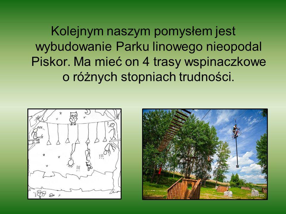 Kolejnym naszym pomysłem jest wybudowanie Parku linowego nieopodal Piskor. Ma mieć on 4 trasy wspinaczkowe o różnych stopniach trudności.