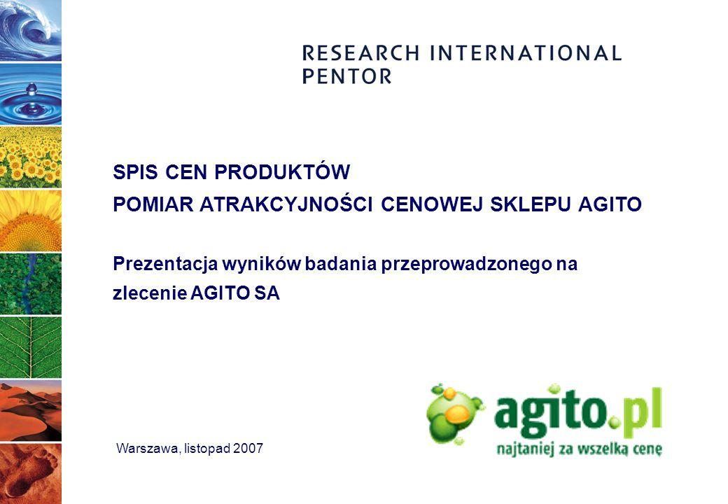 Warszawa, listopad 2007 SPIS CEN PRODUKTÓW POMIAR ATRAKCYJNOŚCI CENOWEJ SKLEPU AGITO Prezentacja wyników badania przeprowadzonego na zlecenie AGITO SA