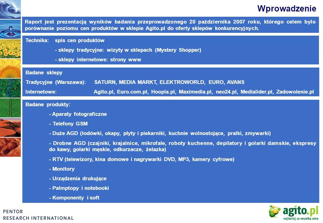 Metodologia DOBÓR SKLEPÓW Badaniem zostało objętych 14 marketów warszawskich należących do pięciu największych sieci AGD i RTV w Polsce.