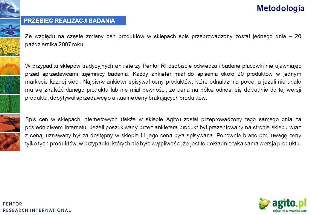 Metodologia PRZEBIEG REALIZACJI BADANIA Ze względu na częste zmiany cen produktów w sklepach spis przeprowadzony został jednego dnia – 20 października