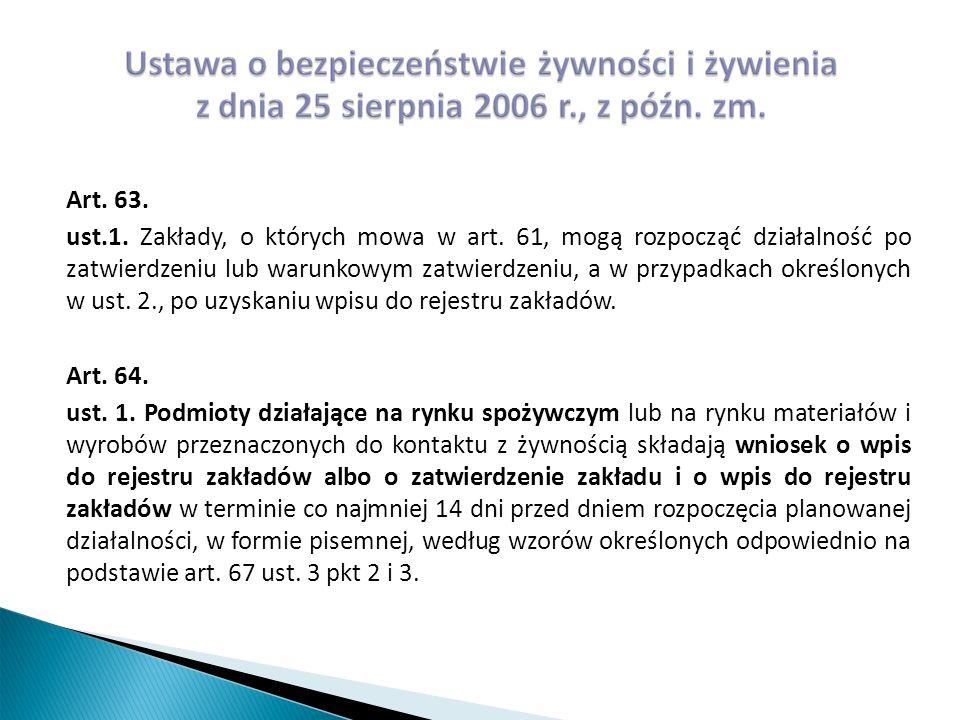 Art. 63. ust.1. Zakłady, o których mowa w art.