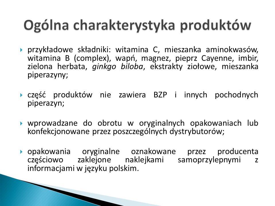 przykładowe składniki: witamina C, mieszanka aminokwasów, witamina B (complex), wapń, magnez, pieprz Cayenne, imbir, zielona herbata, ginkgo biloba, ekstrakty ziołowe, mieszanka piperazyny; część produktów nie zawiera BZP i innych pochodnych piperazyn; wprowadzane do obrotu w oryginalnych opakowaniach lub konfekcjonowane przez poszczególnych dystrybutorów; opakowania oryginalne oznakowane przez producenta częściowo zaklejone naklejkami samoprzylepnymi z informacjami w języku polskim.
