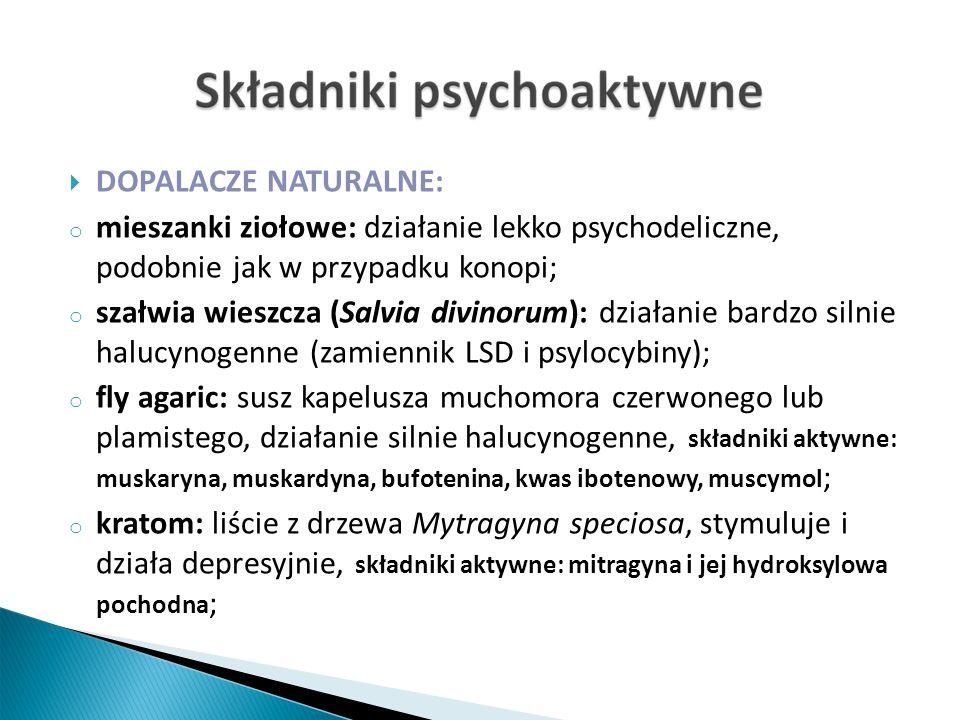 DOPALACZE NATURALNE: o mieszanki ziołowe: działanie lekko psychodeliczne, podobnie jak w przypadku konopi; o szałwia wieszcza (Salvia divinorum): działanie bardzo silnie halucynogenne (zamiennik LSD i psylocybiny); o fly agaric: susz kapelusza muchomora czerwonego lub plamistego, działanie silnie halucynogenne, składniki aktywne: muskaryna, muskardyna, bufotenina, kwas ibotenowy, muscymol ; o kratom: liście z drzewa Mytragyna speciosa, stymuluje i działa depresyjnie, składniki aktywne: mitragyna i jej hydroksylowa pochodna ;