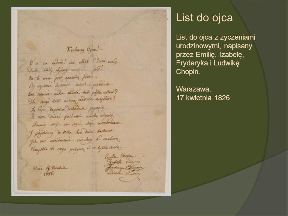 List do ojca List do ojca z życzeniami urodzinowymi, napisany przez Emilię, Izabelę, Fryderyka i Ludwikę Chopin. Warszawa, 17 kwietnia 1826