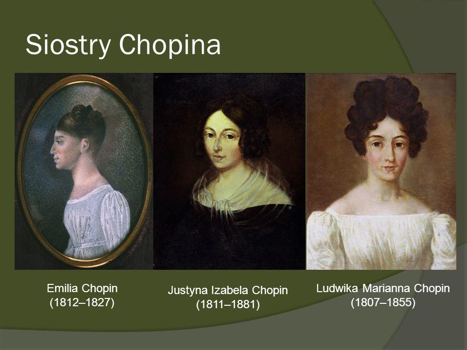 Siostry Chopina Emilia Chopin (1812–1827) Justyna Izabela Chopin (1811–1881) Ludwika Marianna Chopin (1807–1855)