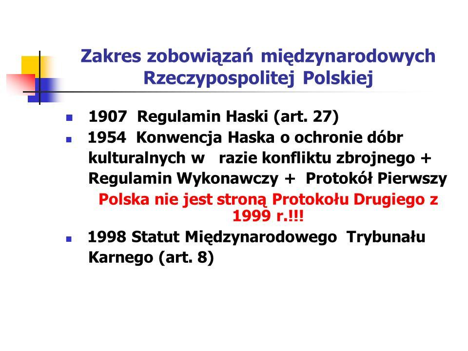 Zakres zobowiązań międzynarodowych Rzeczypospolitej Polskiej 1907 Regulamin Haski (art. 27) 1954 Konwencja Haska o ochronie dóbr kulturalnych w razie