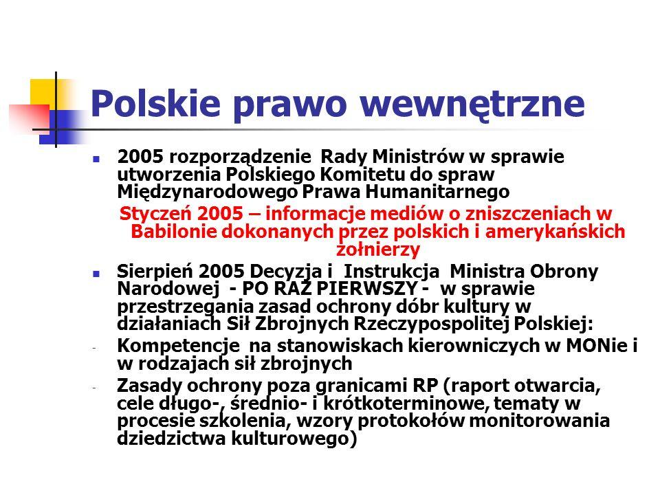 Polskie prawo wewnętrzne 2005 rozporządzenie Rady Ministrów w sprawie utworzenia Polskiego Komitetu do spraw Międzynarodowego Prawa Humanitarnego Styc