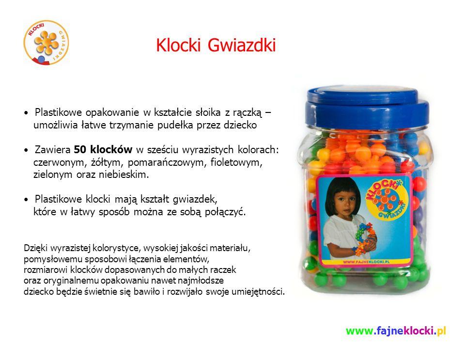 Klocki Gwiazdki Plastikowe opakowanie w kształcie słoika z rączką – umożliwia łatwe trzymanie pudełka przez dziecko Zawiera 50 klocków w sześciu wyrazistych kolorach: czerwonym, żółtym, pomarańczowym, fioletowym, zielonym oraz niebieskim.