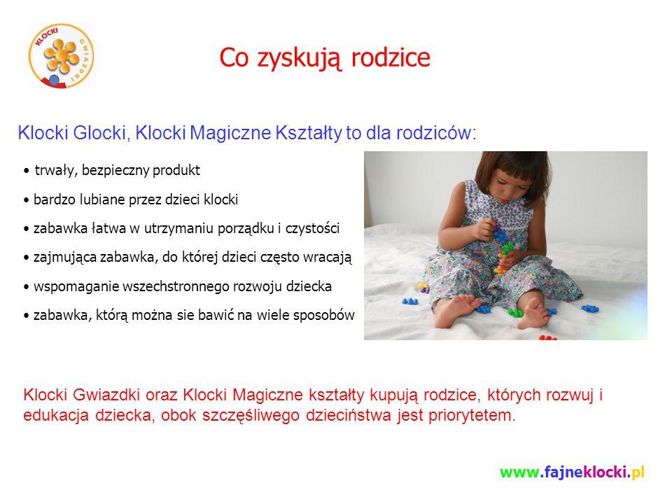 Co zyskują rodzice trwały, bezpieczny produkt bardzo lubiane przez dzieci klocki zabawka łatwa w utrzymaniu porządku i czystości zajmująca zabawka, do której dzieci często wracają wspomaganie wszechstronnego rozwoju dziecka zabawka, którą można sie bawić na wiele sposobów Klocki Glocki, Klocki Magiczne Kształty to dla rodziców: Klocki Gwiazdki oraz Klocki Magiczne kształty kupują rodzice, których rozwuj i edukacja dziecka, obok szczęśliwego dzieciństwa jest priorytetem.