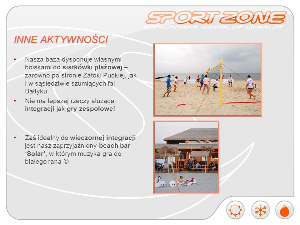 INNE AKTYWNOŚCI Nasza baza dysponuje własnymi boiskami do siatkówki plażowej – zarówno po stronie Zatoki Puckiej, jak i w sąsiedztwie szumiących fal Bałtyku.