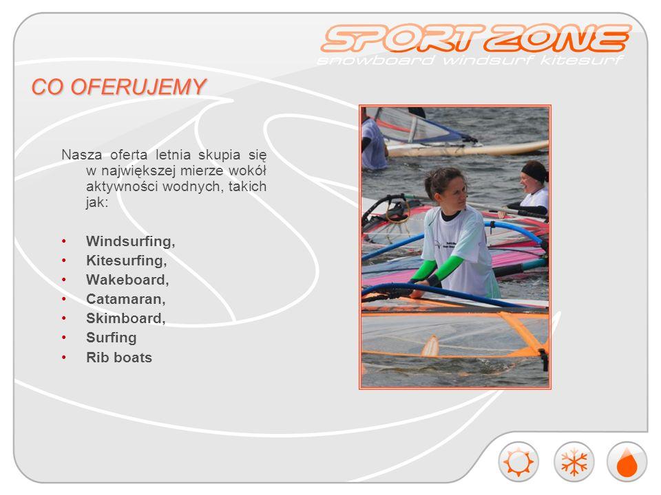 CO OFERUJEMY Nasza oferta letnia skupia się w największej mierze wokół aktywności wodnych, takich jak: Windsurfing, Kitesurfing, Wakeboard, Catamaran, Skimboard, Surfing Rib boats