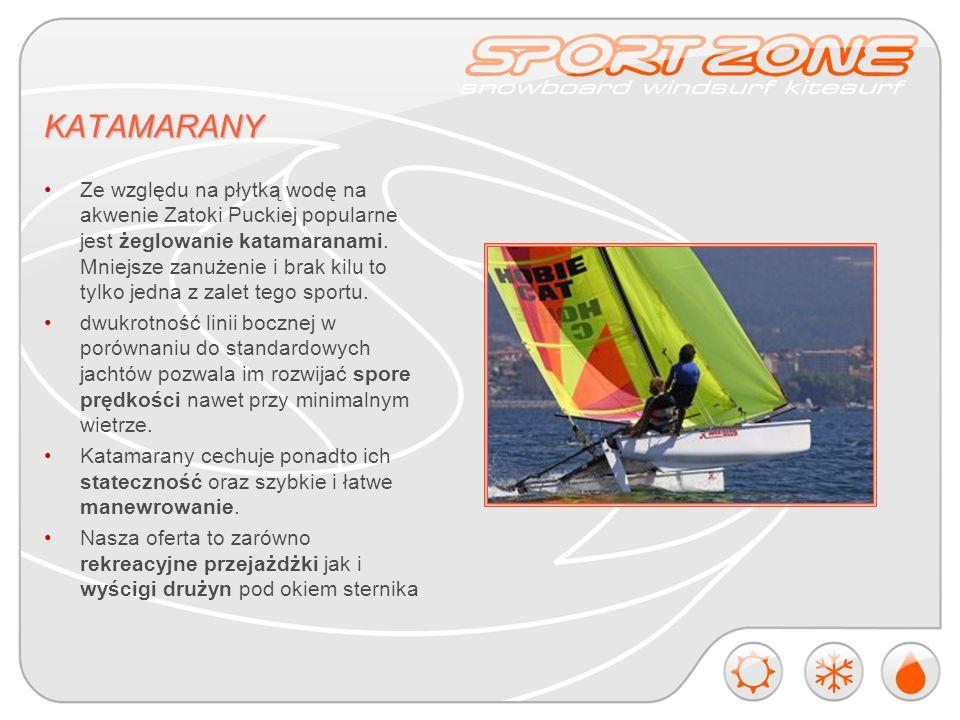 KATAMARANY Ze względu na płytką wodę na akwenie Zatoki Puckiej popularne jest żeglowanie katamaranami.