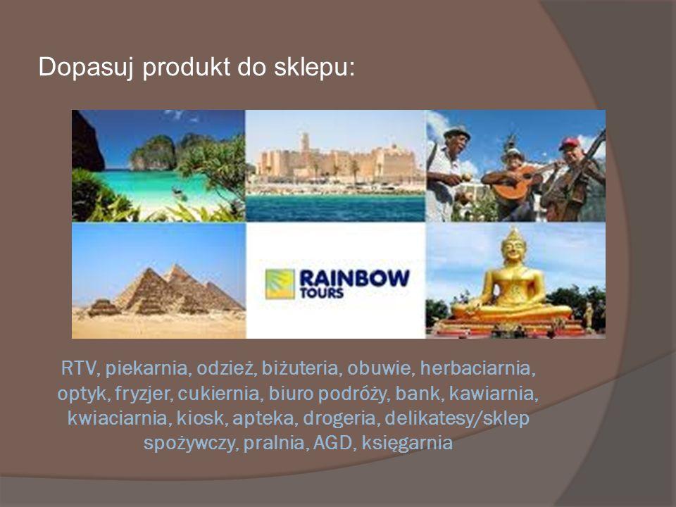 RTV, piekarnia, odzież, biżuteria, obuwie, herbaciarnia, optyk, fryzjer, cukiernia, biuro podróży, bank, kawiarnia, kwiaciarnia, kiosk, apteka, droger