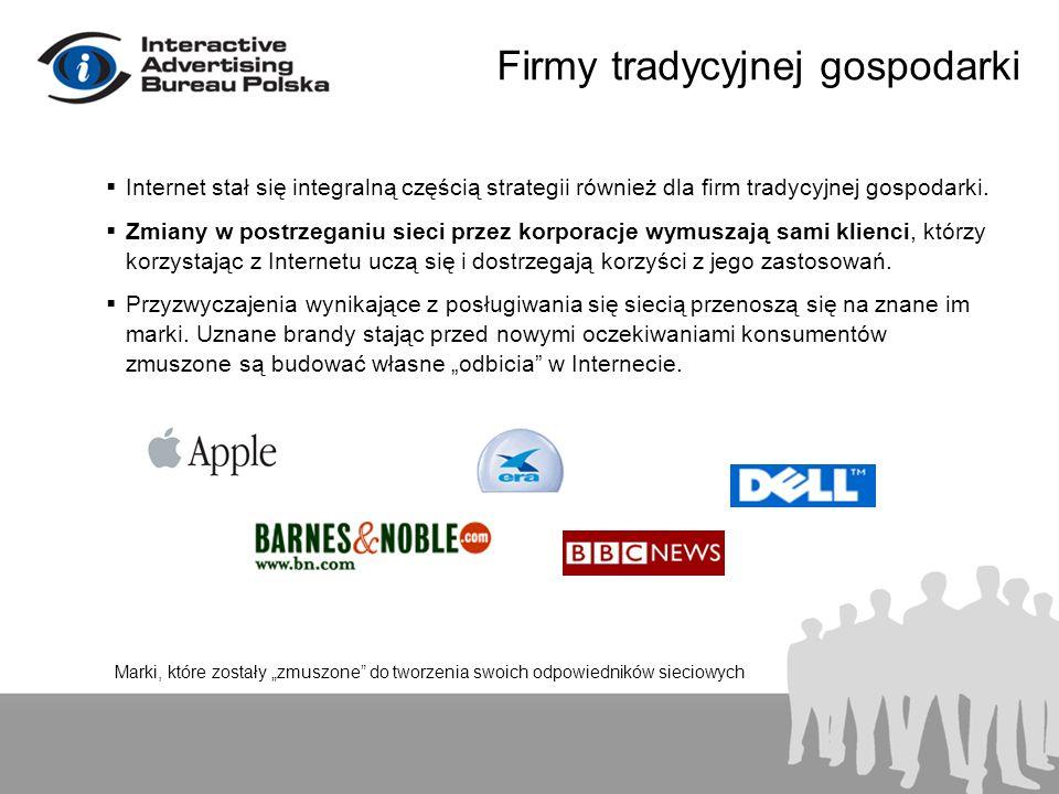 Firmy tradycyjnej gospodarki Internet stał się integralną częścią strategii również dla firm tradycyjnej gospodarki.
