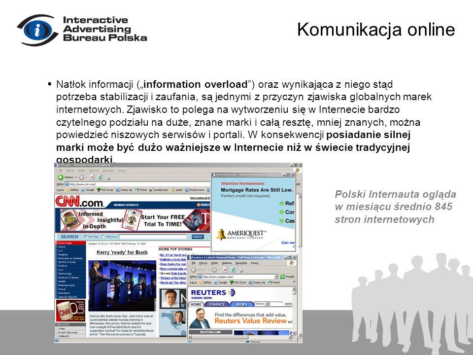 Komunikacja online Natłok informacji (information overload) oraz wynikająca z niego stąd potrzeba stabilizacji i zaufania, są jednymi z przyczyn zjawi