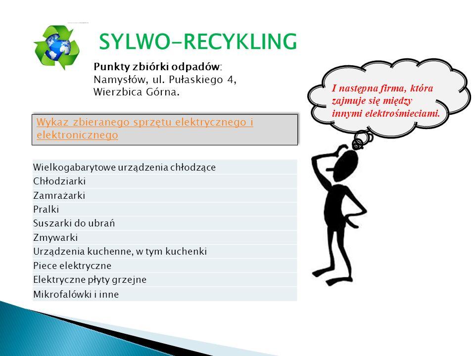 Punkty zbiórki odpadów: Namysłów, ul. Pułaskiego 4, Wierzbica Górna. Wykaz zbieranego sprzętu elektrycznego i elektronicznego Wykaz zbieranego sprzętu