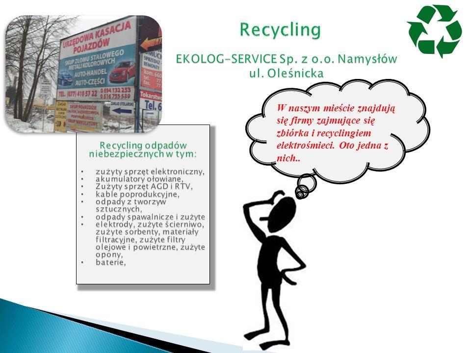 W naszym mieście znajdują się firmy zajmujące się zbiórka i recyclingiem elektrośmieci. Oto jedna z nich..
