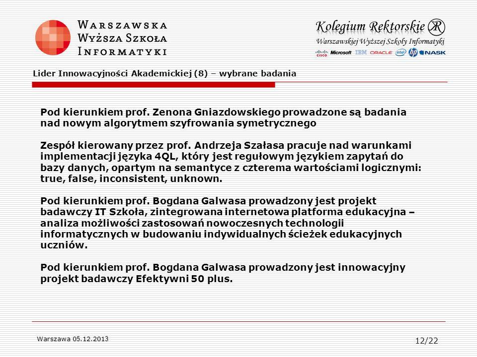 Warszawa 0 5.12.201 3 Pod kierunkiem prof. Zenona Gniazdowskiego prowadzone są badania nad nowym algorytmem szyfrowania symetrycznego Zespół kierowany