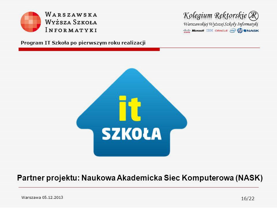 Warszawa 0 5.12.201 3 Partner projektu: Naukowa Akademicka Siec Komputerowa (NASK) Program IT Szkoła po pierwszym roku realizacji 16/22