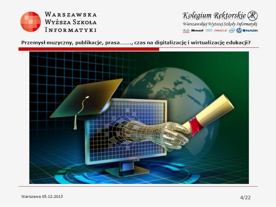 Warszawa 0 5.12.201 3 Przemysł muzyczny, publikacje, prasa……., czas na digitalizację i wirtualizację edukacji? 4/22