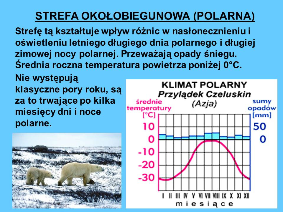 STREFA OKOŁOBIEGUNOWA (POLARNA) Strefę tą kształtuje wpływ różnic w nasłonecznieniu i oświetleniu letniego długiego dnia polarnego i długiej zimowej nocy polarnej.