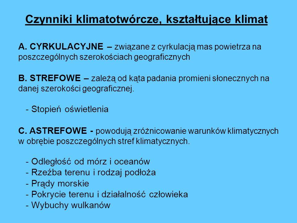A. CYRKULACYJNE – związane z cyrkulacją mas powietrza na poszczególnych szerokościach geograficznych B. STREFOWE – zależą od kąta padania promieni sło