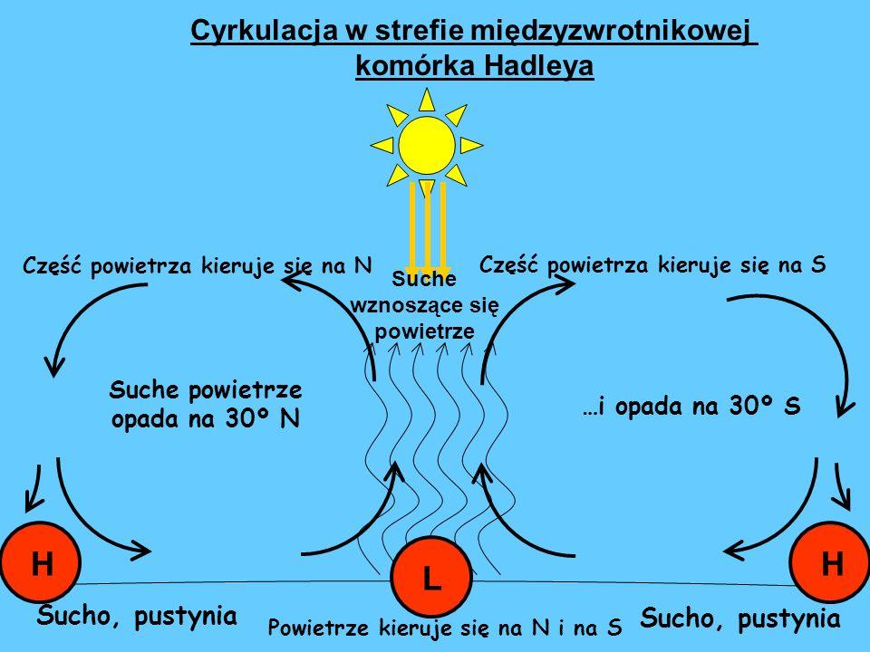 Część powietrza kieruje się na S Część powietrza kieruje się na N Suche wznoszące się powietrze Suche powietrze opada na 30º N …i opada na 30º S Sucho