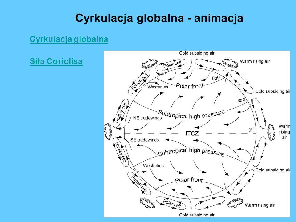Cyrkulacja globalna Cyrkulacja globalna - animacja Siła Coriolisa